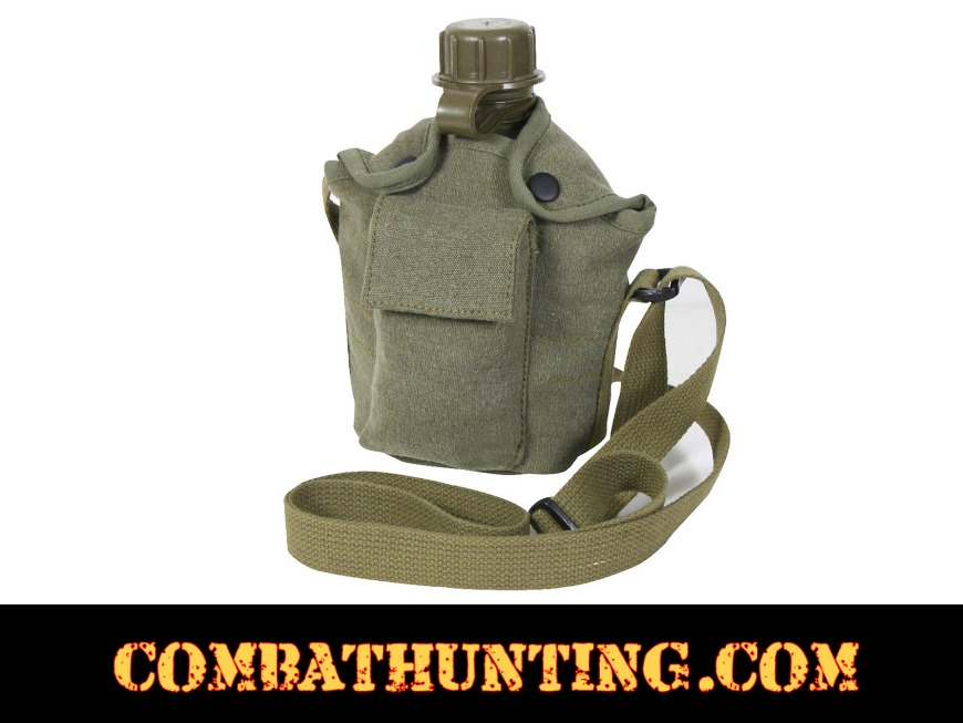 12c3de4fa 614-Olive Drab Vintage Canvas Canteen Cover With Shoulder Strap Olive Drab  - Military Canteens