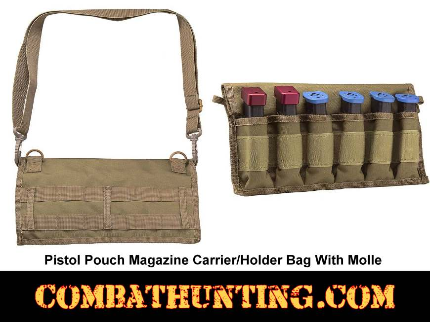Tan/FDE Pistol Pouch Magazine Carrier/Holder Bag style=