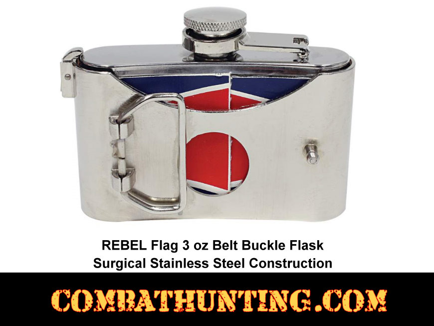 Belt Buckle Flask With Rebel Flag style=