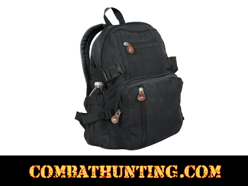 4b12598d00c5 9153 Rothco Vintage Canvas Mini Backpack Black - Military Backpacks
