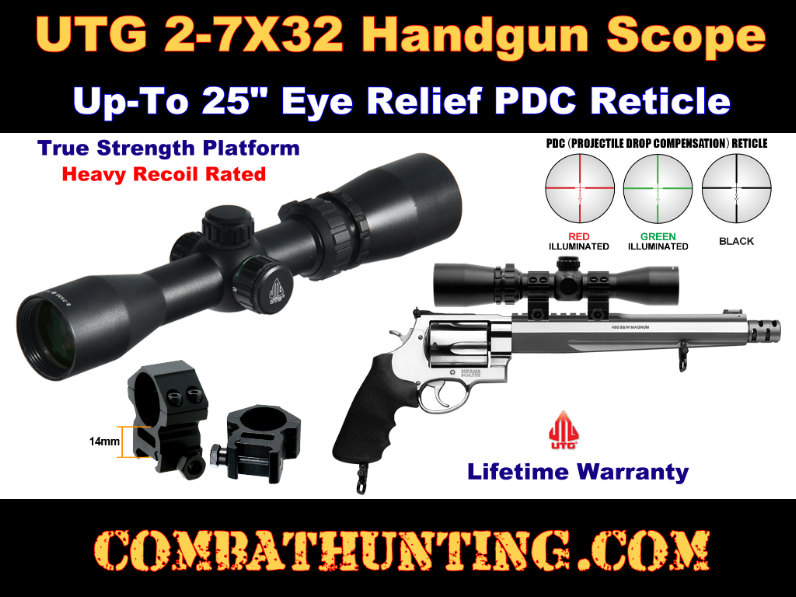 UTG 2-7X32 Long Eye Relief Scout Scope Up To 25