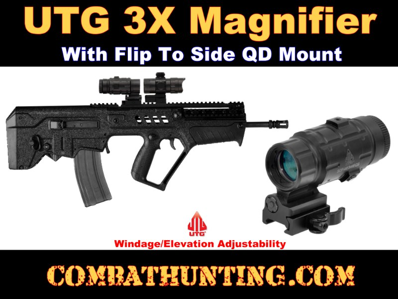 UTG 3X Magnifier with Flip-to-side QD Mount, W/E Adjustable style=