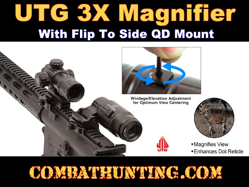 Scp Mf3weqs Utg 3x Magnifier With Flip To Side Qd Mount W