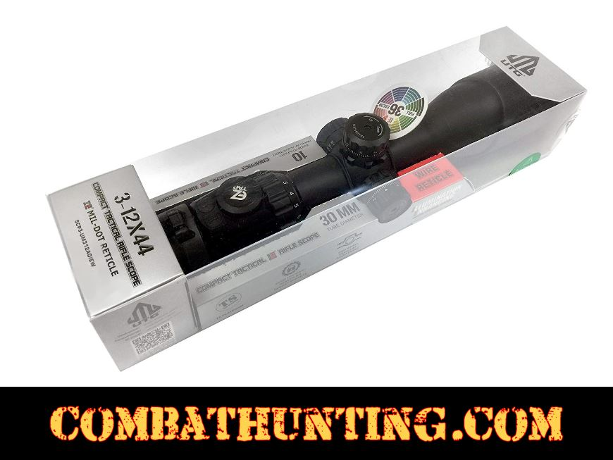 UTG 3-12X44 30mm Compact Scope, AO, 36-color Mil-dot, Rings style=