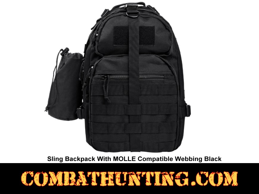 Sling Backpack With MOLLE Compatible Webbing Black style=