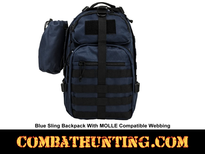 Sling Backpack With MOLLE Compatible Webbing Blue style=
