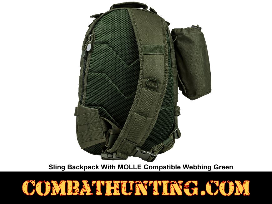 Sling Backpack With MOLLE Compatible Webbing Green style=