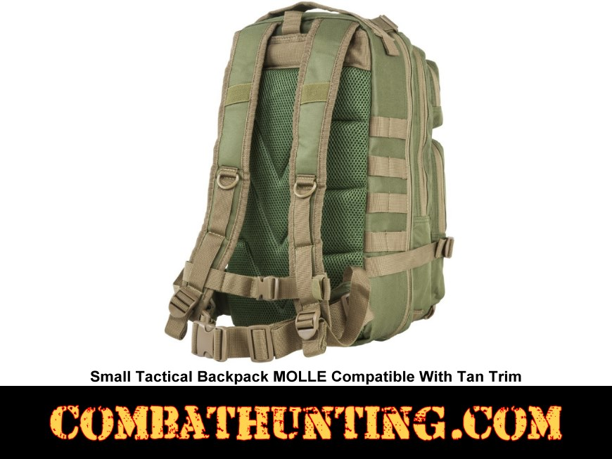 Small Tactical Backpack MOLLE Green With Tan Trim style=
