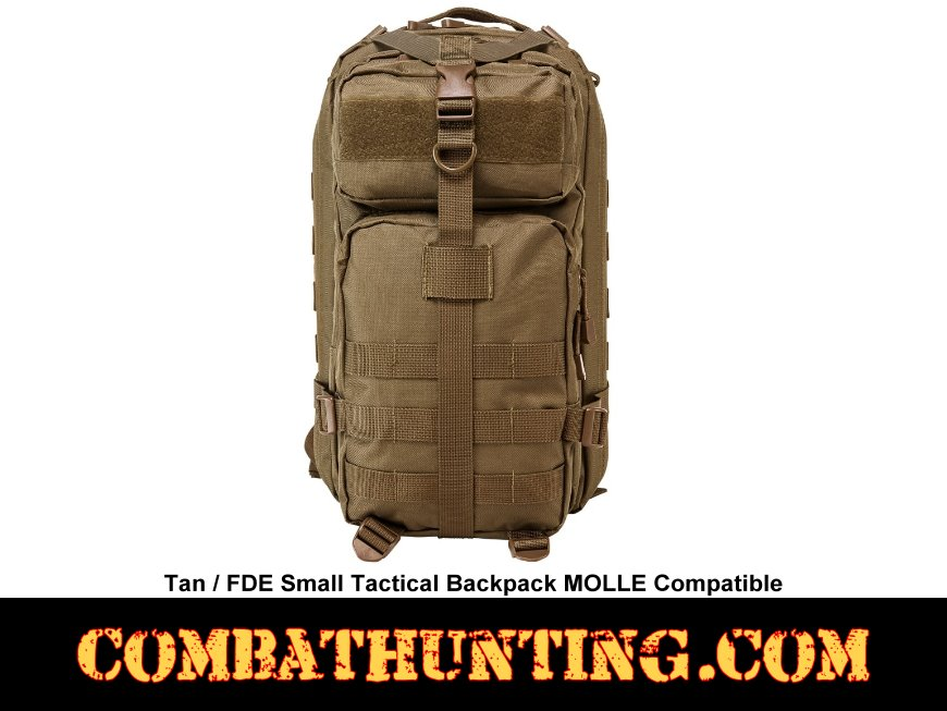 Small Tactical Backpack Tan/FDE MOLLE Compatible style=