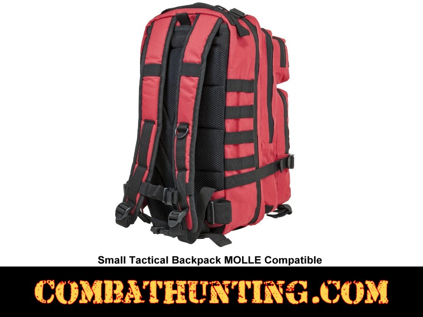 Small Tactical Backpack MOLLE Red With Black Trim style=