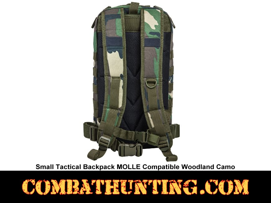 Small Tactical Backpack Woodland Camo MOLLE Compatible style=