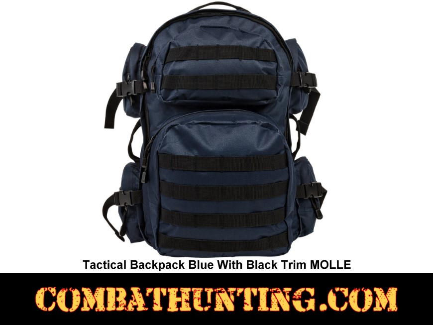 Tactical Backpack Blue With Black Trim MOLLE style=