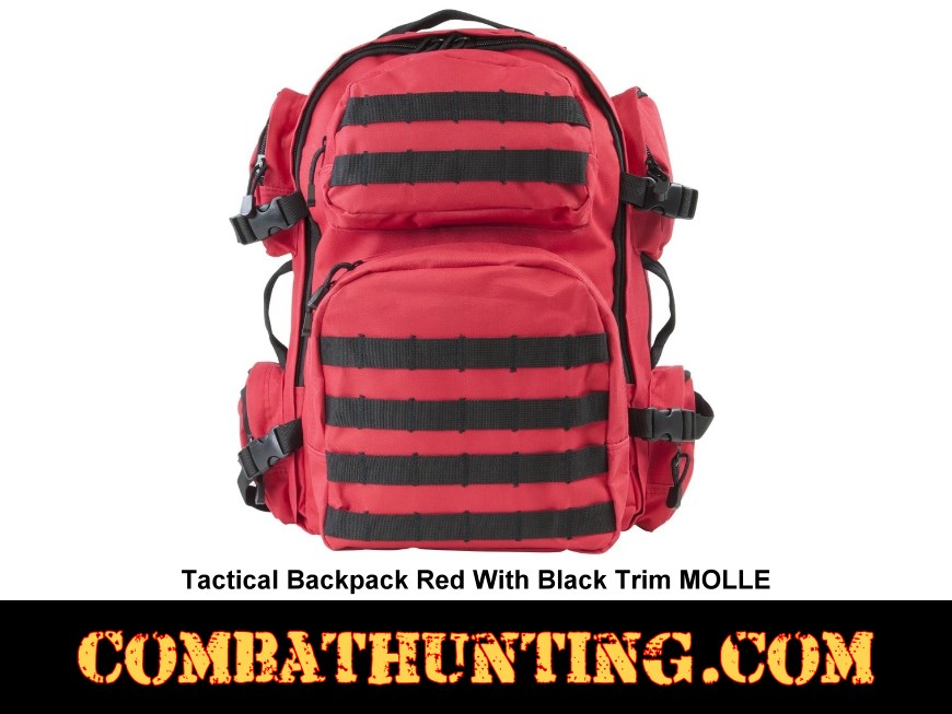 Tactical Backpack Red With Black Trim MOLLE style=