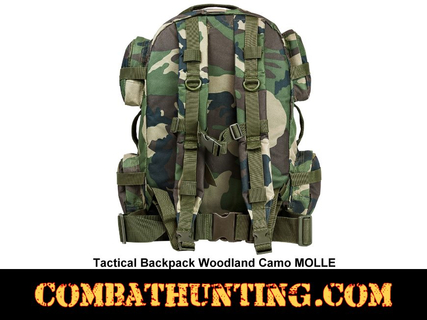 Tactical Backpack Woodland Camo MOLLE style=