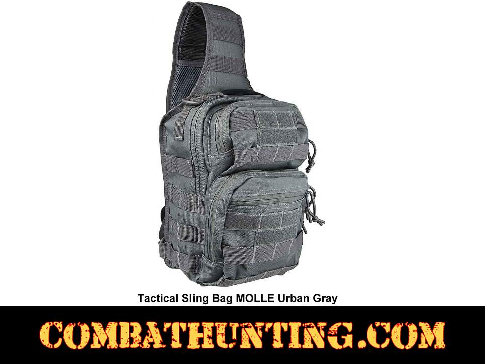 Urban Gray Tactical Sling Bag MOLLE style=