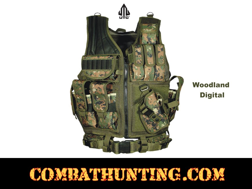 UTG Tactical Vest With Quick Draw Holster Pouch & Belt style=
