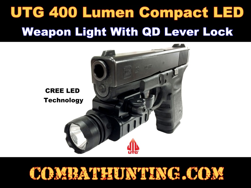 UTG 400 Lumen Compact LED Weapon Light with QD Lever Lock style=