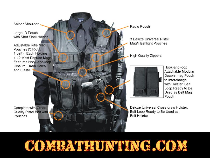 UTG® 547 Law Enforcement Tactical Vest, Right Handed, Black style=