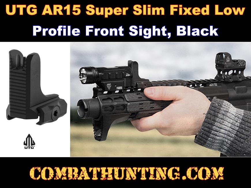 UTG AR15 Super Slim Fixed Low Profile Front Sight Black style=