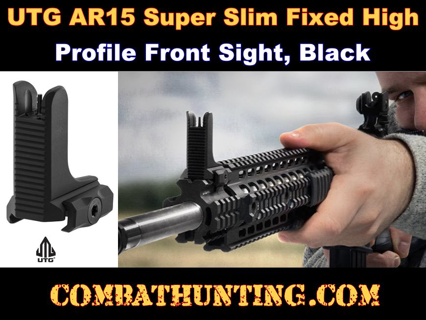 UTG AR15 Super Slim Fixed High Profile Front Sight Black style=