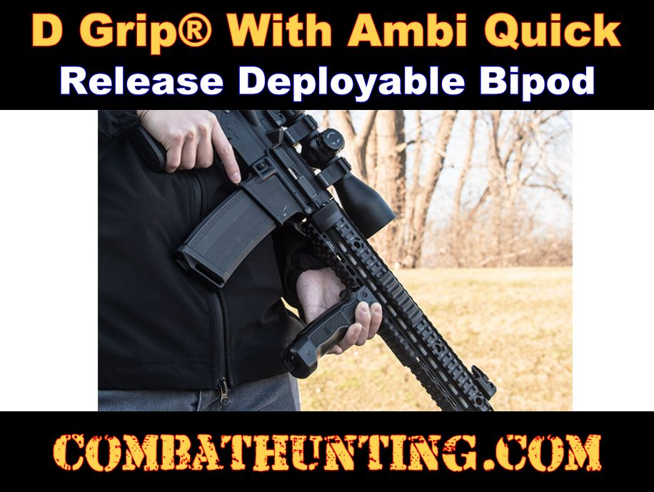 UTG Combat D Grip Quick Release Deployable Bipod style=