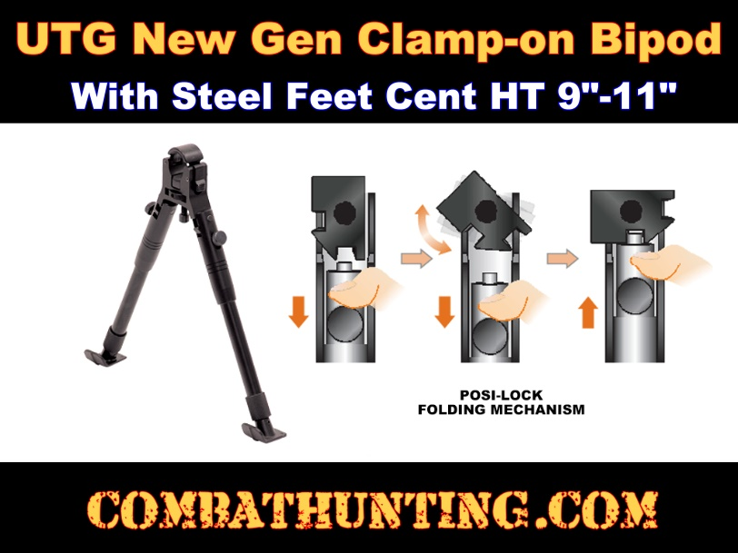 UTG New Gen Clamp-on Bipod, Steel Feet, Cent Ht 8.7