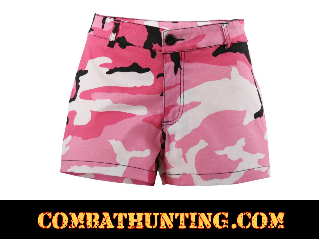 6c158ee158f0c 3196 Womens Short Shorts Pink Camo - Women's Shorts & Skirts