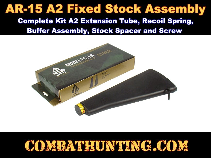 UTG AR-15 Fixed Buttstock, A2 Complete Assembly Kit Black style=