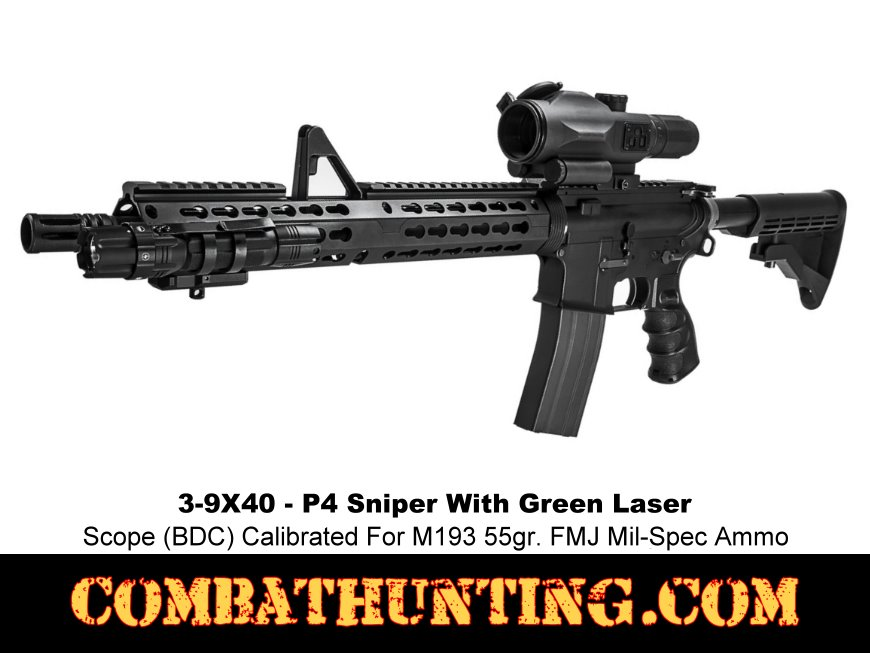 AR-15 Scope 3-9X40 Rubber Armored P4 Sniper Illuminated & Green Laser style=
