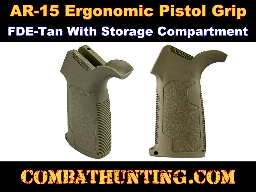 AR-15 Ergonomic Pistol Grip FDE-Tan With Storage style=