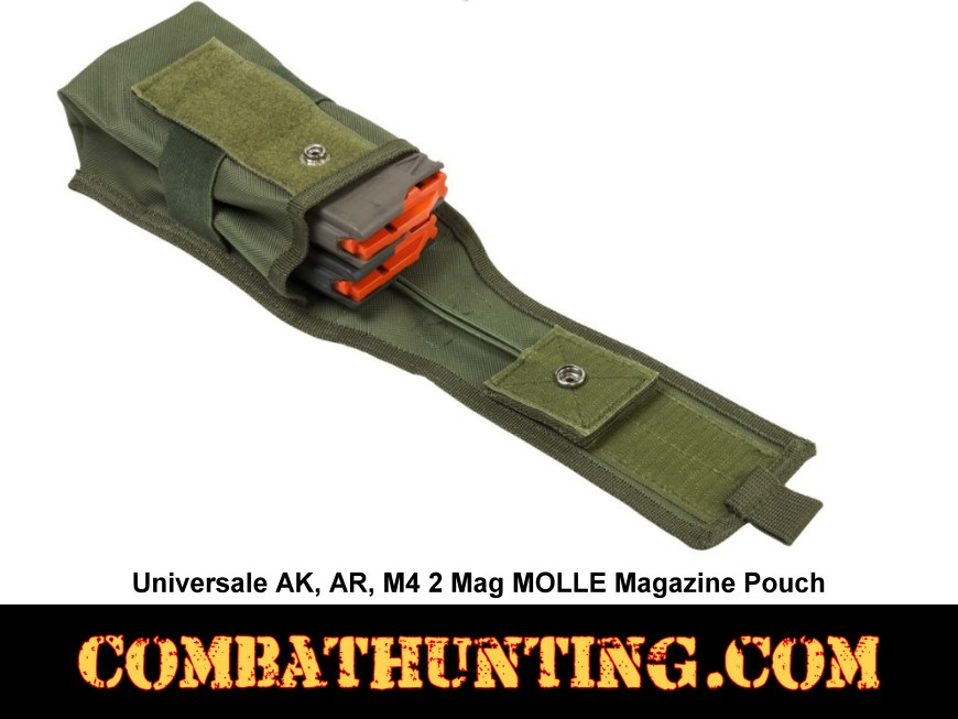 AK, AR, M4 2 Mag MOLLE Magazine Pouch Green style=