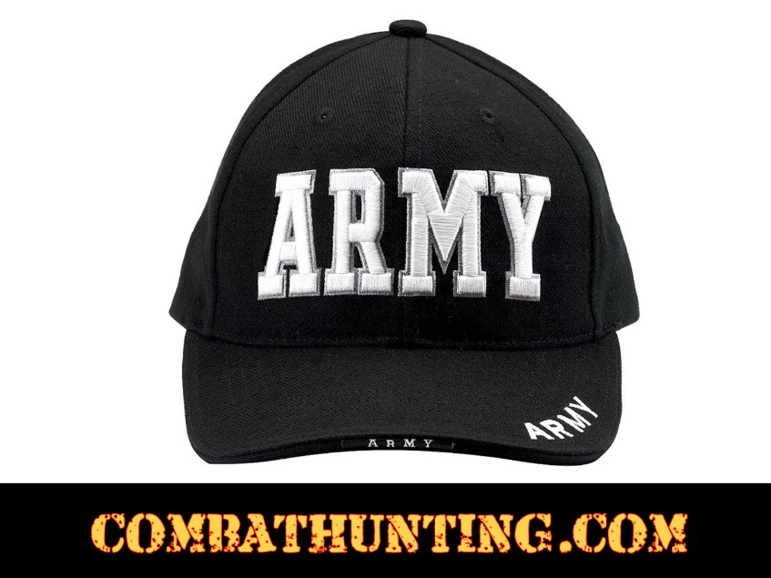 Black Deluxe Army Embroidered Low Profile Insignia Cap style=