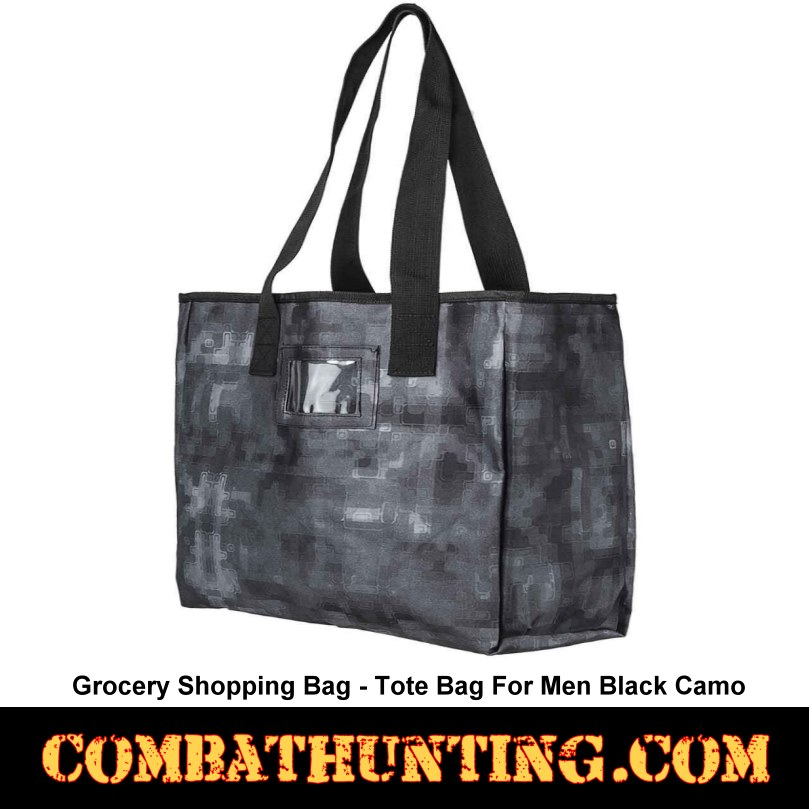 Digital Black Camo Grocery Shopping Bag-Tote Bag For Men style=