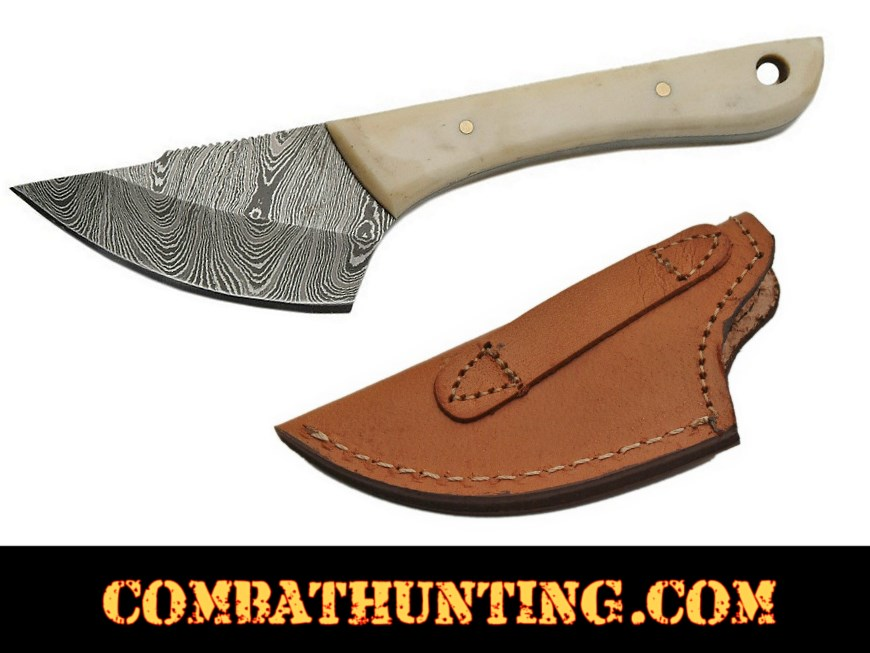 Damascus Steel Caping Knife / Skinning Knife With Bone Handle  style=