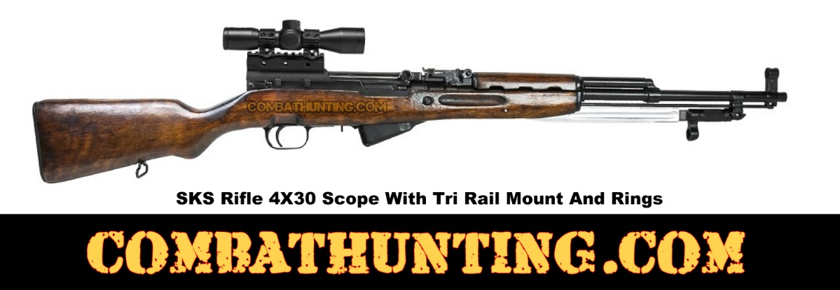 SKS Rifle 4X30 Scope With Tri Rail  Mount And Rings style=