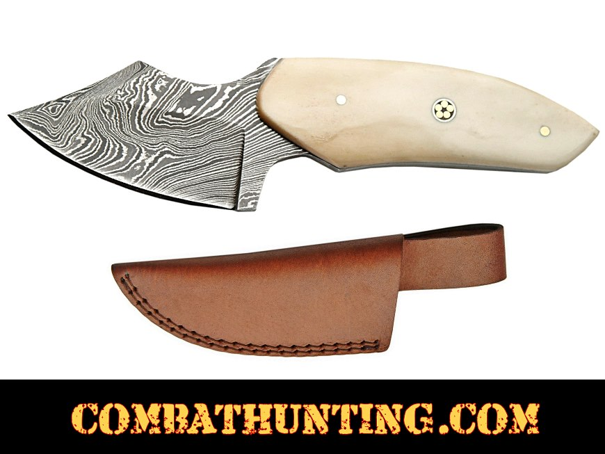 Damascus Steel Skinning Knife With Bone Handle 6.25