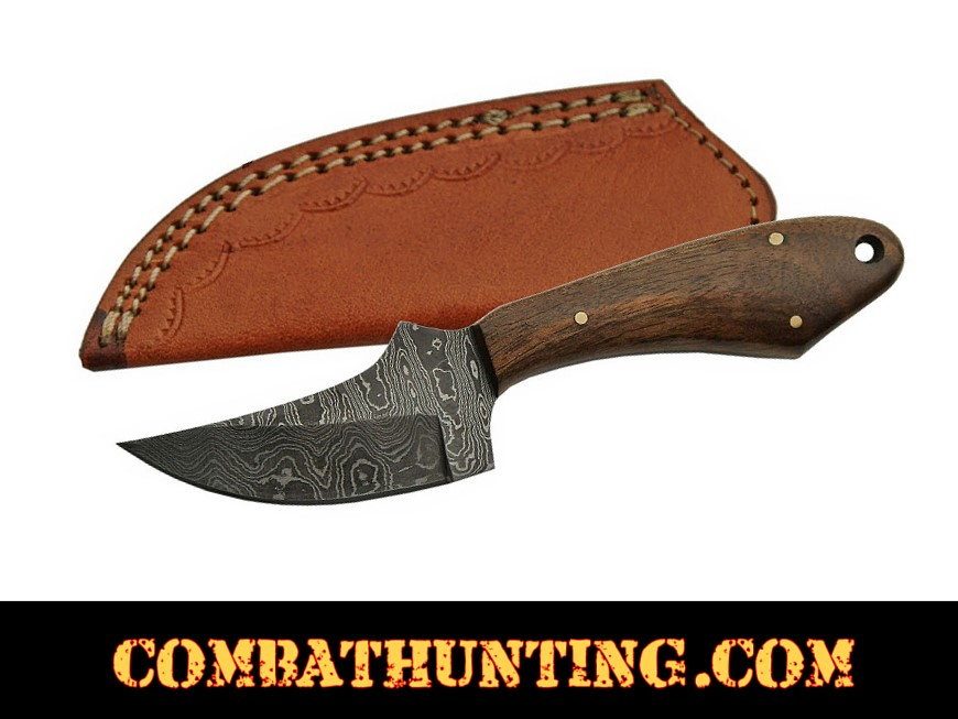 Damascus Steel Hunting Knife With Walnut Handle style=