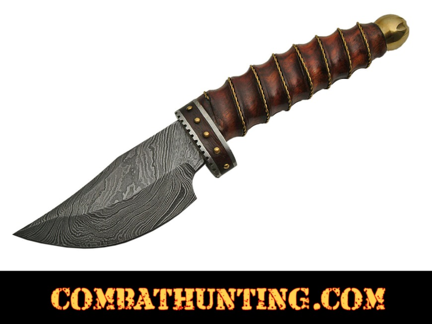 Damascus Skinner With Rose Wood Handle style=