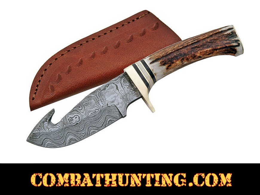 Damascus Guthook Fixed Blade Hunters Knife style=