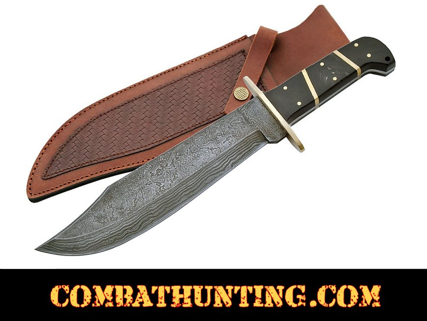 Damascus Steel Bowie Hunting Knife style=