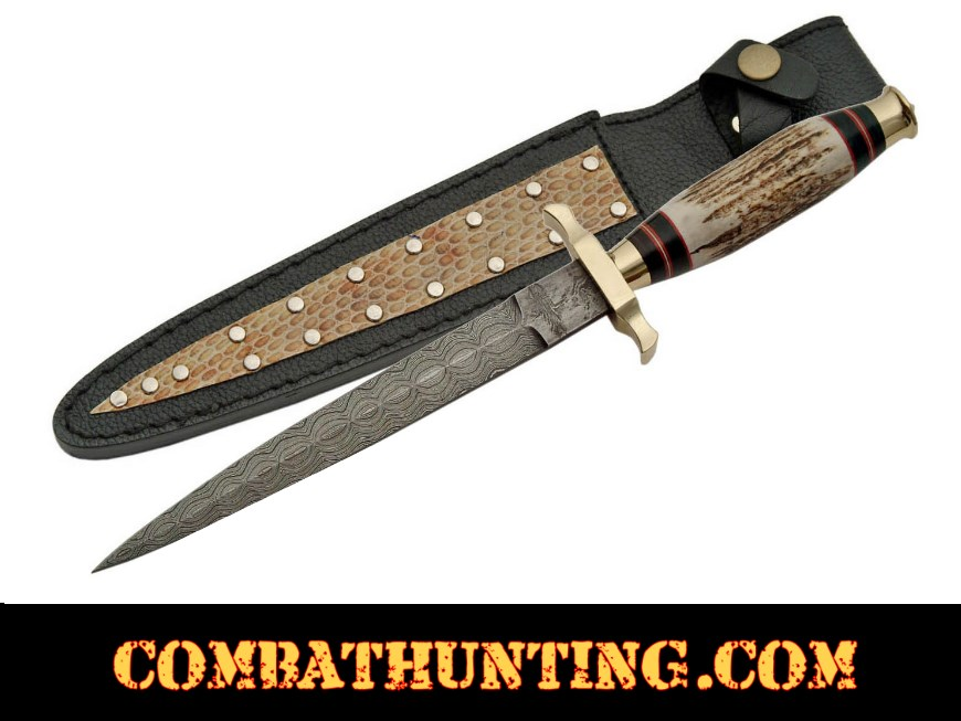 Damascus Commando Knife With Stag Horn Handle style=