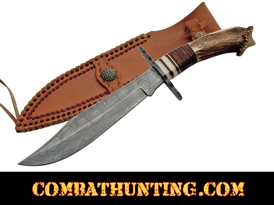 Stag Horn Damascus Steel Crown Bowie Knife style=
