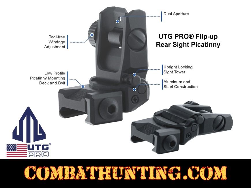 UTG PRO® Flip-up Dual Aperture Rear Sight Picatinny style=