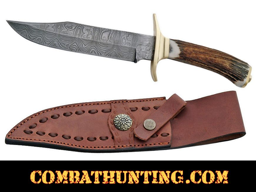 Damascus Steel Bowie Hunting Knife 11