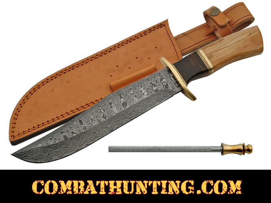 Damascus Steel Bowie Hunting Knife 14.5