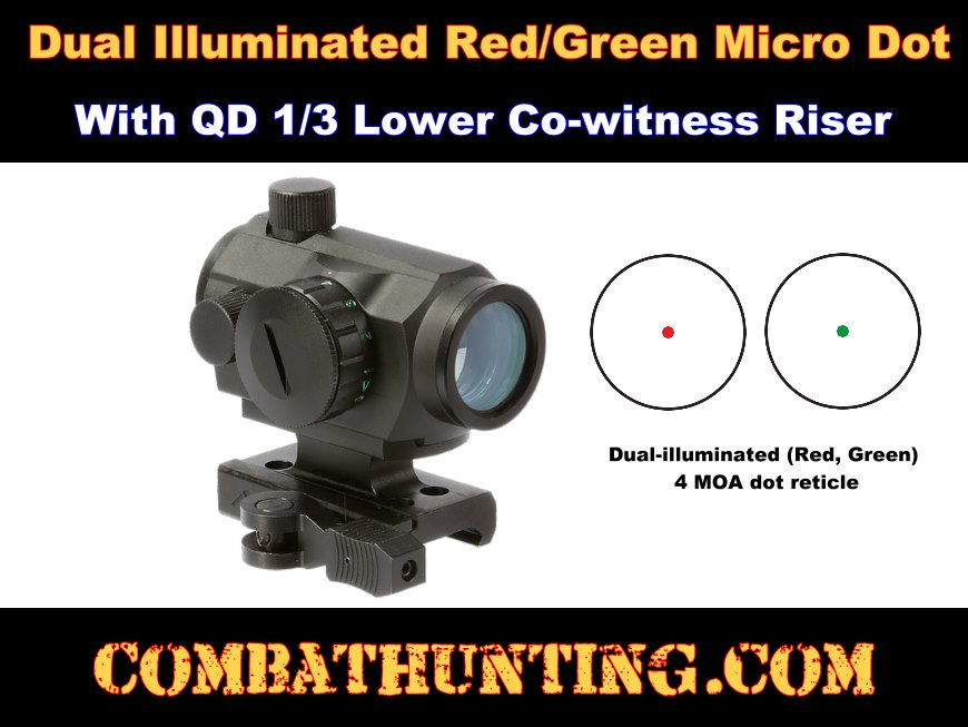 Micro Dot Sight Illuminated With QD 1/3 Lower Co-witness Riser style=