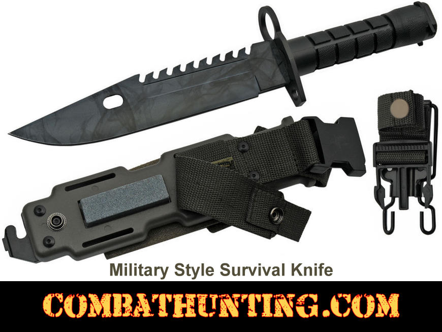 Military Style Survival Knife With Sheath style=