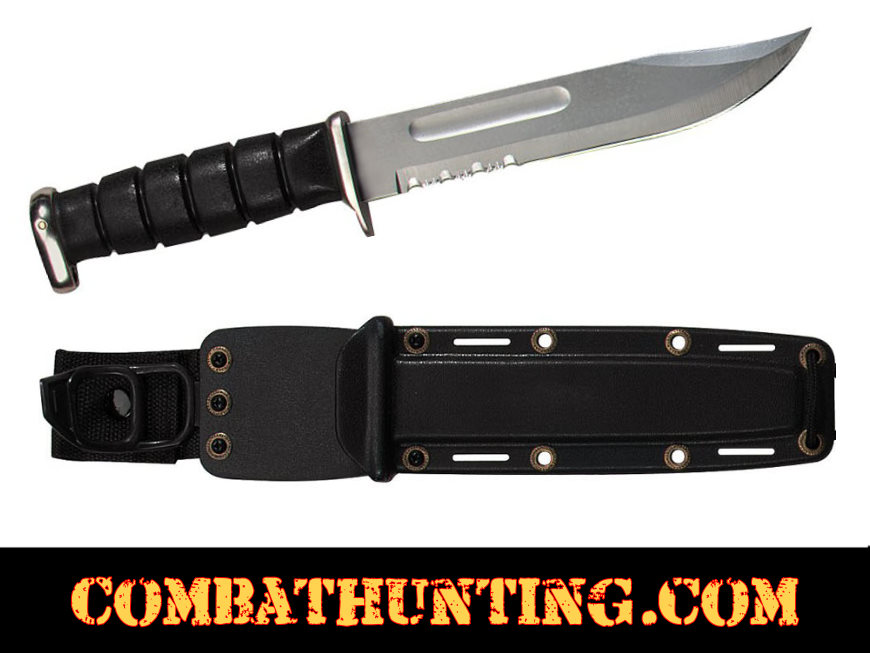 USMC Style Fighting Knife With Serrated Blade style=
