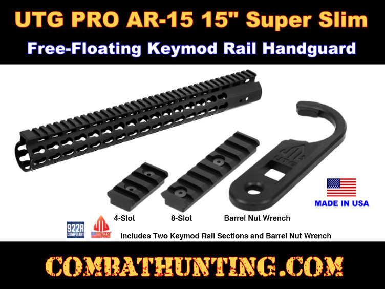 UTG PRO AR15 15  Super Slim Free Float Keymod Compatible Rail  style=