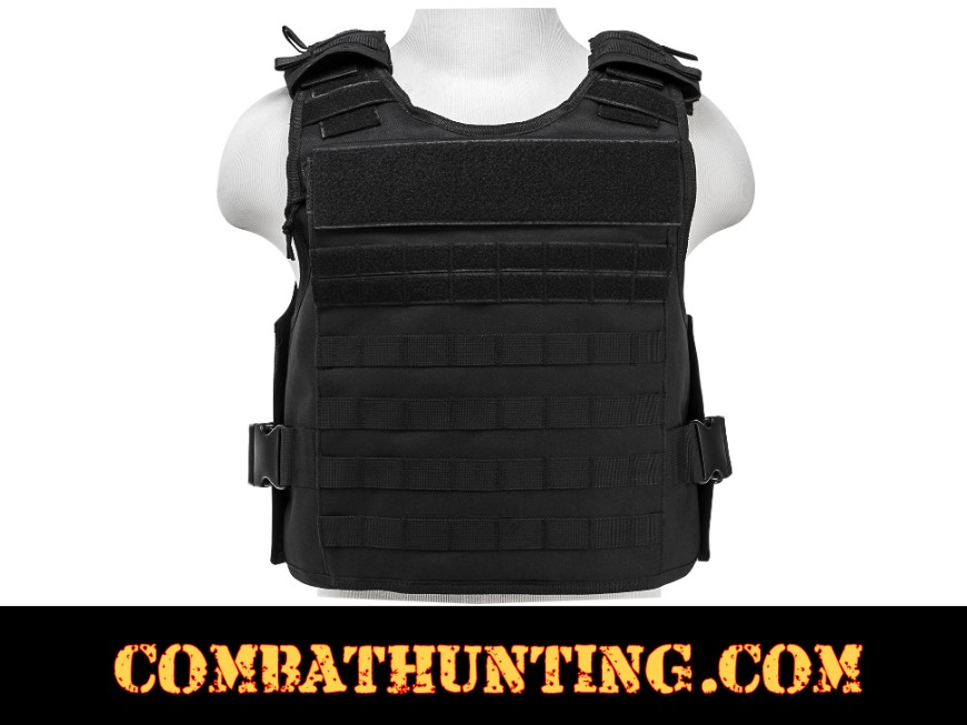 Armor Plate Carrier Vest with MOLLE Webbing Black MED-2XL style=